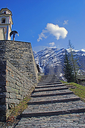 Free Steps Up To Village Church In Bosco Gurin Royalty Free Stock Photography - 15947777