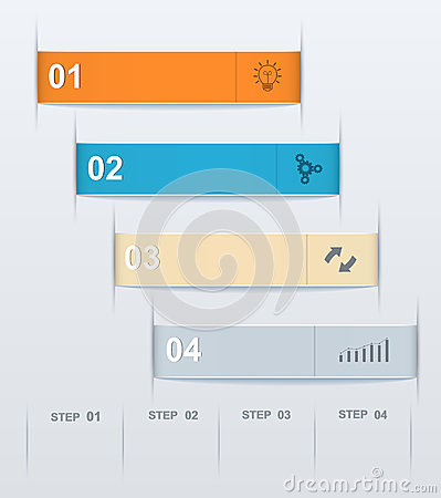 Stepwise numeric template infographic