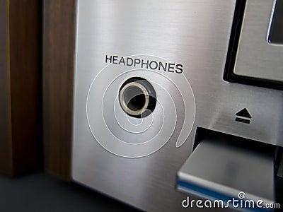 Stereo Cassette Tape Deck headphones input closeup