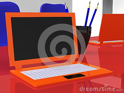 Stereoscopic laptops on red table with pencils