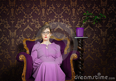 Stern lady in a purple setting