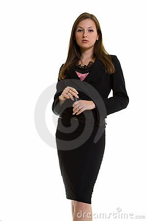Stern young business woman