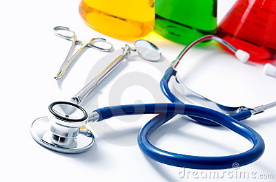 Stethoscope and beakers