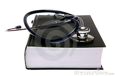 Stethoscope on book