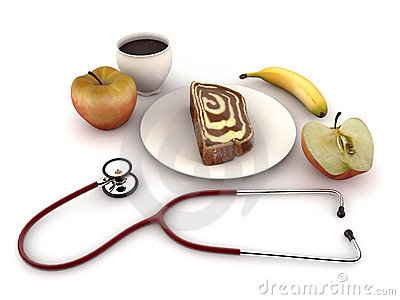 Stethoscope on breakfast table
