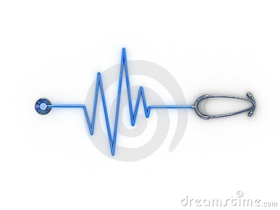 Stethoscope and cardiogram