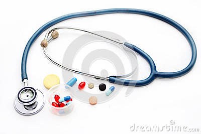 Stethoscope and different pharmacological preparations