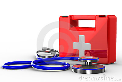 Stethoscope and first aid on white background