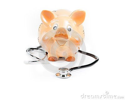 Stethoscope in front of piggy bank a piggy bank, concept for save money
