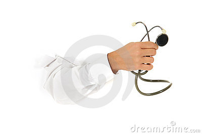 Stethoscope in hand.
