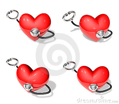 Stethoscope and heart 3d array