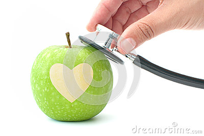 Stethoscope and heart apple