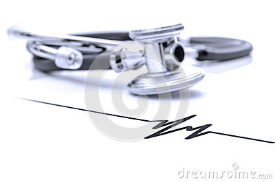 Stethoscope with heart beat sign