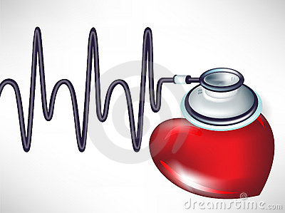 Stethoscope and heart beats
