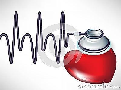 Stethoscope and heart beats