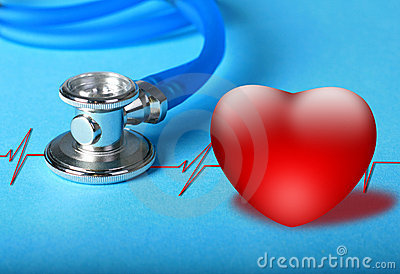 Stethoscope and heart diagram.