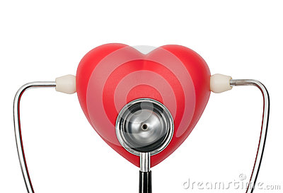 Stethoscope on heart listening pulse