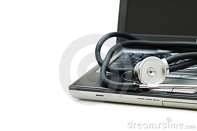 Stethoscope and laptop