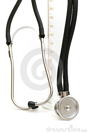 Stethoscope and measuring glass