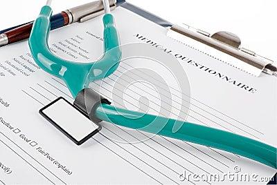 Stethoscope on medical document