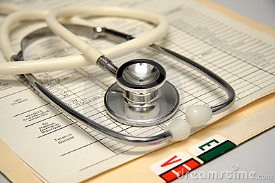 Stethoscope on a patients medical record