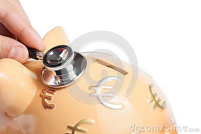 Stethoscope on a piggy bank, concept for save money