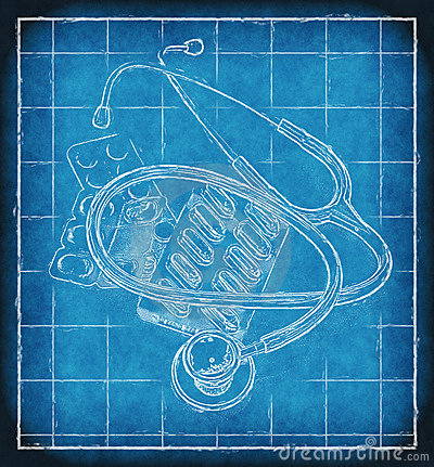 Stethoscope and pills on blueprint