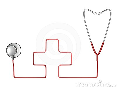 Stethoscope and red cross symbol of medicine