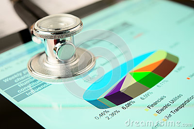 Stethoscope and tablet pc with market graph