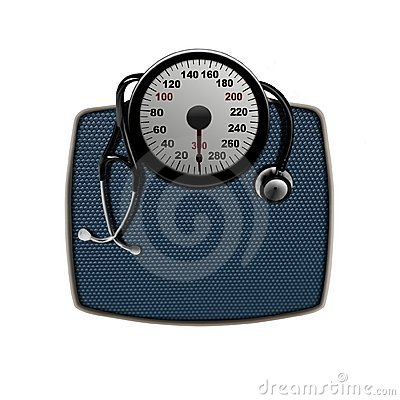 Stethoscope on a weight scales