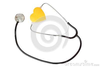 Stethoscope and yellow heart