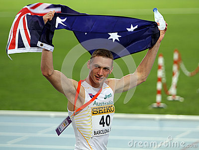 Steven Solomon celebrates bronze medal Editorial Stock Photo