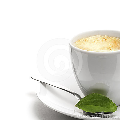 Stevia plant and coffee cup