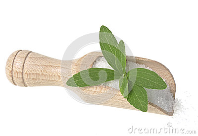 Stevia rebaudiana with a sugar on white background