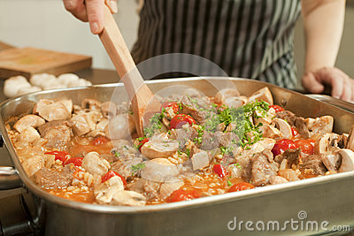 Stew Cooking in Electric Frying Pan