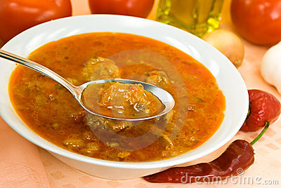 Stew-goulash soup -with red bell pepper and cubes