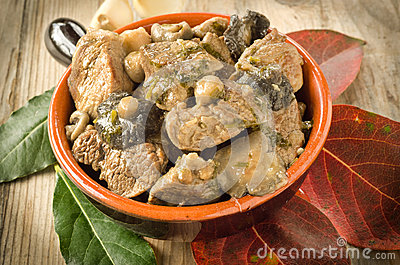 Stew meat and mushrooms