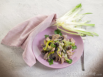 Stew veal wtih leek and black
