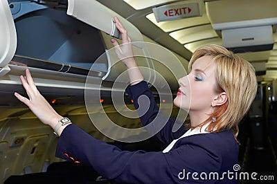 Stewardess checking luggage