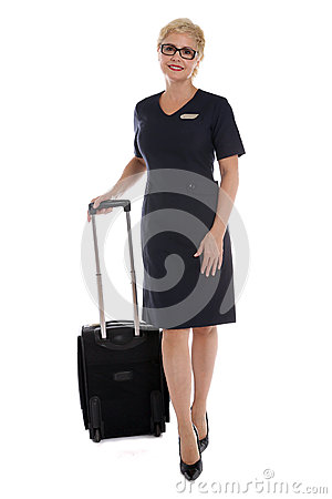 Stewardess going to work