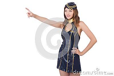 Stewardess pressing virtual button