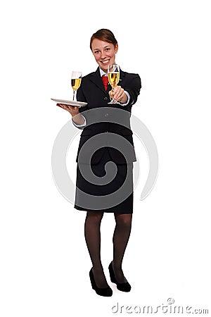 Stewardess serving drinks