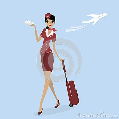 Stewardess with a suitcase and a plane ticket Vector Illustration