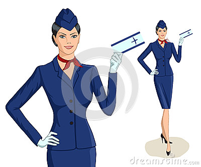 Stewardess with ticket Vector Illustration
