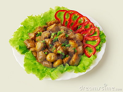 Stewed meat with mushrooms and onion decorated...