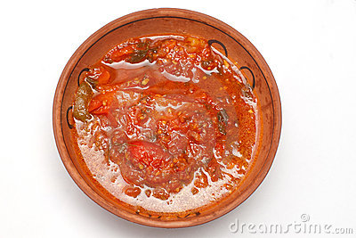 Stewed pepper in tomatoes