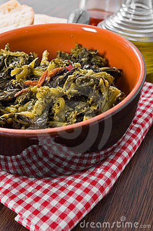 Stewed turnip greens.