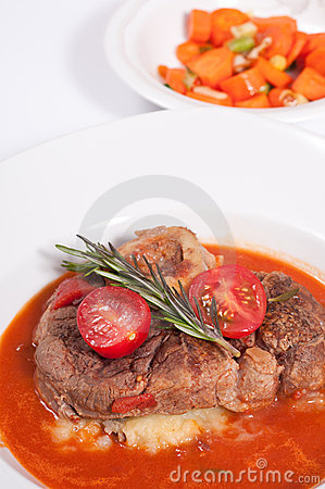 Stewed veal shank ossobuco