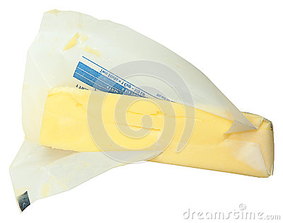 Stick Of Butter In Paper Unwrapped Over White Stock Photo ...