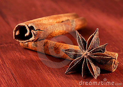 Stick of cinnamon with anise